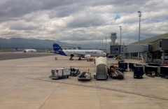 The airport has more space for cargo planes, but only six passenger gates.