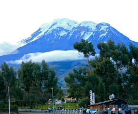 The evening before we visited the park, we could see how little remains of Chimborazo's snow-cap.