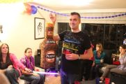 Bruno swung at a Pilsner Pinata at his going away party.