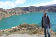 Bruno hiked around the lake in a volcanic crater.