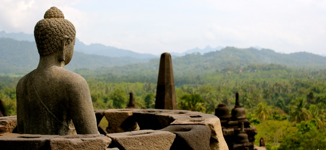 A Buddha looking out from Borobudur temple.