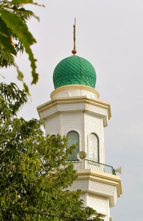 Mosques in Jakarta are adorned with loudspeakers like these.