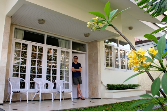 Bruno stands at the front door of our rental in Jakarta.