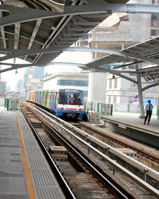 Bangkok's elevated rapid transit (aka sky train) covers over 55km of the city and links to a separate airport rail line.