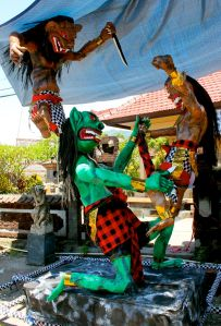 This ogoh-ogoh was set aflame on the eve of Nyepi, March 30, near Pemuteran, Bali.